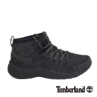 【Timberland】男款FlyRoam Trail黑色皮革中筒布面靴推薦折扣  Timberland