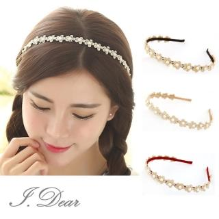 【I.Dear】韓系花朵蕾絲鑲珍珠小梅花邊髮箍(3色)   I.Dear