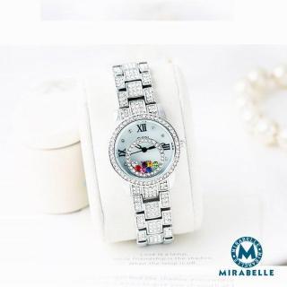 【Mirabelle】璀璨珠寶盒 彩鑽雙圈奢華鍊錶 銀   Mirabelle