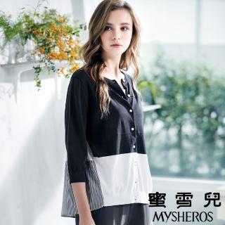 【mysheros 蜜雪兒】純棉針織拼接色塊條紋上衣(灰)  mysheros 蜜雪兒