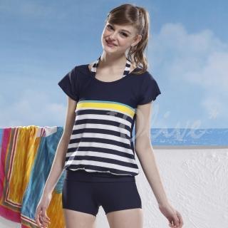 【泳之美】時尚短袖二件式加大泳裝(NO.2296-4L)  泳之美