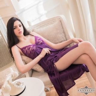 【Annabery】大尺碼深紫柔緞V領側開衩性感睡衣   Annabery