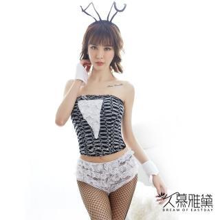 【久慕雅黛】白色蕾絲兔女郎馬甲短褲套裝  久慕雅黛