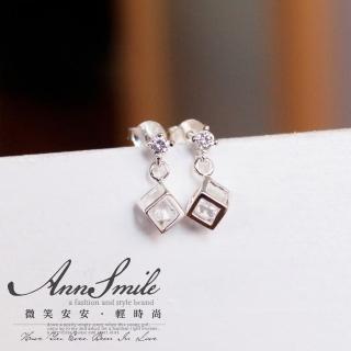 【微笑安安】小骰子鋯石925純銀針式耳環   微笑安安