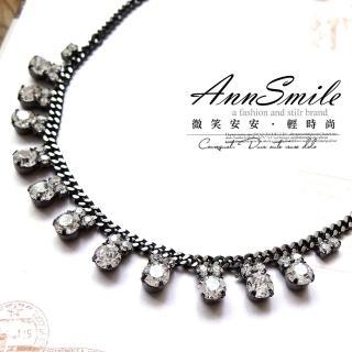 【微笑安安】韓製華麗風亮鑽排列項鍊(共2色)   微笑安安