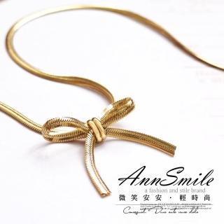 【微笑安安】韓製金屬緞帶蝴蝶結感短鍊(共2色)   微笑安安