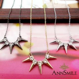 【微笑安安】韓製晶鑽放射三角錐感短鍊(共3色)   微笑安安