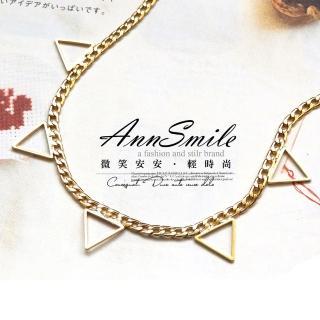 【微笑安安】韓製索鍊鏤空倒三角短項鍊   微笑安安