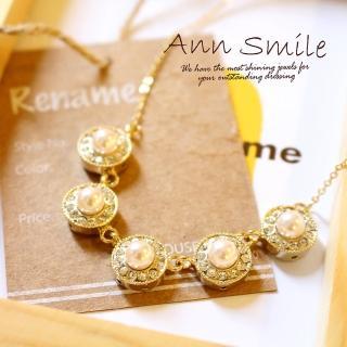 【微笑安安】韓製華麗風晶鑽珍珠圓墜項鍊   微笑安安