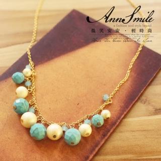 【微笑安安】韓製土耳其藍霧白珠墜項鍊   微笑安安