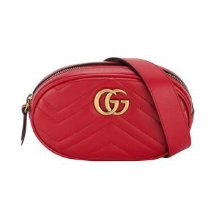 【GUCCI 古馳】GG Marmont 山型絎縫皮革手拿/腰包(476434-紅)  GUCCI 古馳