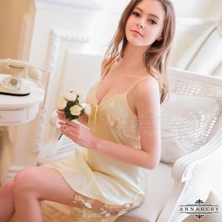 【Annabery】大尺碼粉嫩鵝黃色系質感緞面睡衣   Annabery