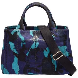 【PRADA 普拉達】CANAPA銀色三角LOGO帆布縫線迷彩造型背帶手提/斜背包(藍B2439G-CANAPA CAMOFLA-ROYAL)   PRADA 普拉達