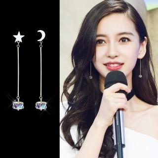 【梨花HaNA】韓國925銀星月妝點極光方糖長耳環   梨花HaNA