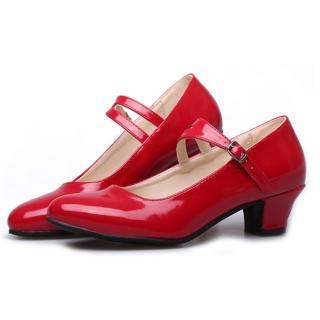 【Sp house】時尚優雅淑女鏡面跟鞋舞蹈鞋(經典紅全尺碼)   Sp house