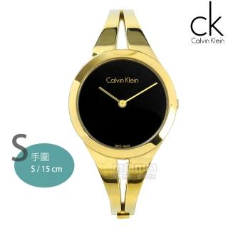 【Calvin Klein】瑞士機芯 鏤空設計 手環 不鏽鋼手錶 黑x鍍金 31mm(K7W2S511)  Calvin Klein