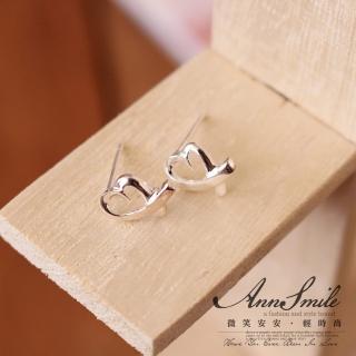 【微笑安安】經典愛心925純銀針式耳環   微笑安安