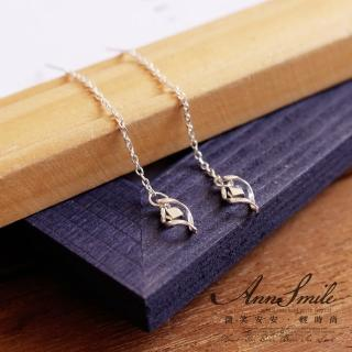 【微笑安安】小方塊菱形925純銀穿針細鏈式耳環  微笑安安