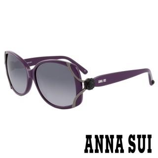 【ANNA SUI 安娜蘇】香氛花園經典浪漫玫瑰雙弧線綁帶造型款太陽眼鏡(紫 -AS845M729)  ANNA SUI 安娜蘇
