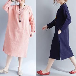 【A.Cheter】簡約方格紋理寬鬆圓領長袖洋裝101839(2色)   A.Cheter