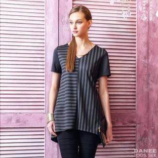 【岱妮蠶絲】簡約拼接蠶絲短袖上衣(MWL3CD01)   岱妮蠶絲