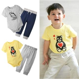 【Baby童衣】男寶 短袖純棉印花休閒套裝 80078(共2色)  Baby童衣