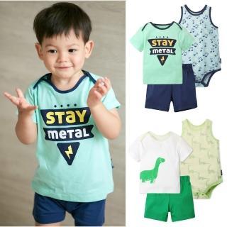 【Baby童衣】男寶 純棉動物印花短袖套裝3件組 80049(共2色)   Baby童衣