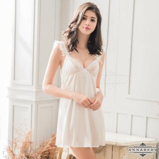 【Annabery】大尺碼純白柔緞蕾絲荷葉邊性感睡衣   Annabery