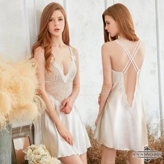 【Annabery】大尺碼純白雙肩帶交叉美背性感睡衣   Annabery