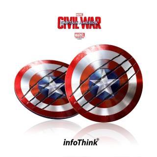 【InfoThink】美國隊長超薄盾牌TYPE C / USB雙頭隨身碟 16GB(戰損版)  InfoThink