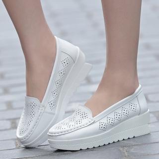 【JC Collection】真皮鏤空松糕厚底透氣休閒鞋(白色)  JC Collection