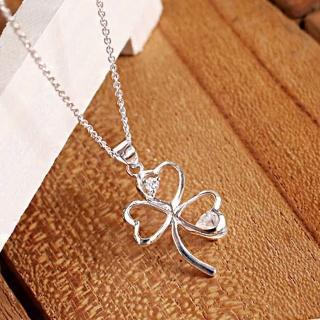 【微笑安安】心形三葉幸運草925純銀細緻項鍊   微笑安安