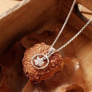 【微笑安安】花形晶鑽環925純銀細緻項鍊  微笑安安