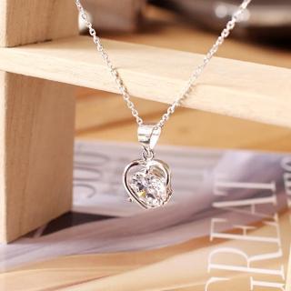【微笑安安】愛心圓鑽925純銀細緻項鍊   微笑安安