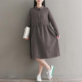 【A.Cheter】清新鄉村格紋風棉麻洋裝101738(格子)   A.Cheter