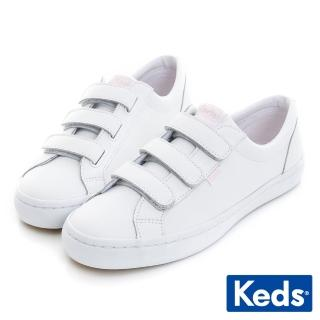 【Keds】TIEBREAK 摩登時尚黏扣帶休閒鞋(白/粉紅)  Keds