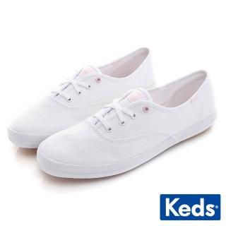 【Keds】CHAMPION 綁帶休閒鞋(白/粉紅)  Keds
