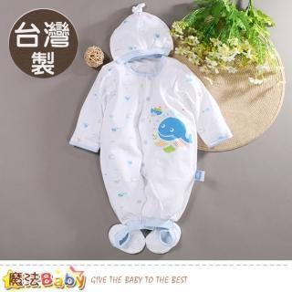 【魔法Baby】包屁衣 台灣製薄款帽衣腳三件套純棉連身衣(b0033)  魔法Baby