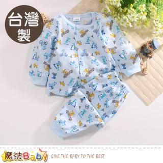 【魔法Baby】0~2歲嬰幼兒套裝 台灣製薄長袖居家冷氣房套裝(k50671)   魔法Baby