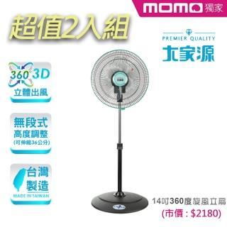獨家2入組-【大家源】14吋360度旋風立扇/電風扇(TCY-8106)   大家源