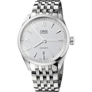 【ORIS 豪利時】ARTIX 天文台日期機械錶-銀/42mm(0173776424071-0782180)  ORIS 豪利時