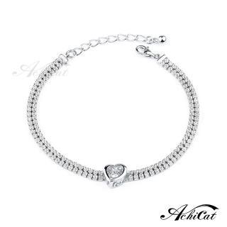 【AchiCat】925純銀項鍊 跳舞的手鍊 刻骨銘心 跳舞石 愛心 HS8002(銀色)  AchiCat