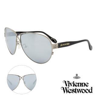 【Vivienne Westwood】英國薇薇安魏斯伍德時尚交叉水銀鏡面太陽眼鏡-氣質款(槍色 AN764M01)   Vivienne Westwood