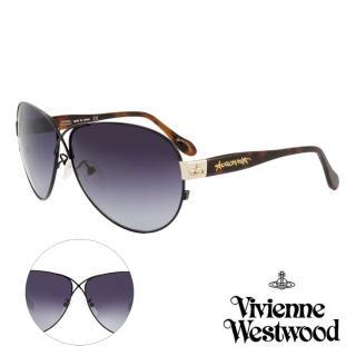 【Vivienne Westwood】英國薇薇安魏斯伍德時尚交叉水銀鏡面太陽眼鏡-氣質款(黑/琥珀 AN764M02)   Vivienne Westwood