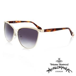 【Vivienne Westwood】英國薇薇安魏斯伍德時尚經典眉框水銀鏡面太陽眼鏡(金/琥珀 AN762M02)  Vivienne Westwood