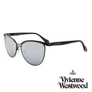 【Vivienne Westwood】英國薇薇安魏斯伍德時尚經典眉框水銀鏡面太陽眼鏡(亮黑 AN762M01-12HR)  Vivienne Westwood