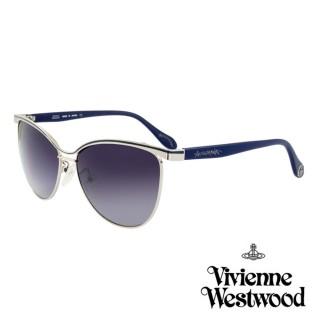 【Vivienne Westwood】英國薇薇安魏斯伍德時尚經典眉框水銀鏡面太陽眼鏡(銀/藍 AN762M03-12HR)  Vivienne Westwood