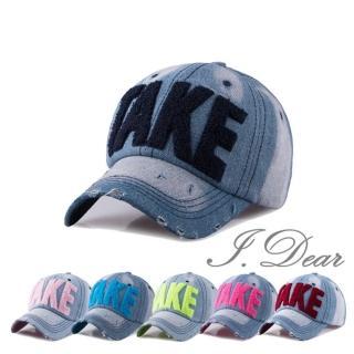 【I.Dear】韓國TAKE彩虹螢光字母牛仔布遮陽棒球帽(5色)  I.Dear