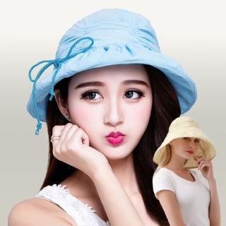 【I.Dear】春夏戶外出遊可調節繩抓皺時尚遮陽帽漁夫帽(5色)  I.Dear