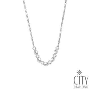 【City Diamond 引雅】天然橢圓5顆珍珠水晶項鍊  City Diamond 引雅